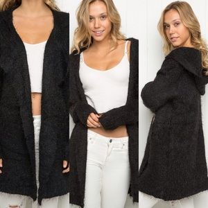 Brandy Melville Fuzzy Wool Hooded Cardigan
